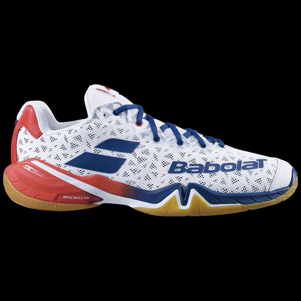 Chaussures BABOLAT SHADOW TOUR MEN BLANCBLEU Badmania