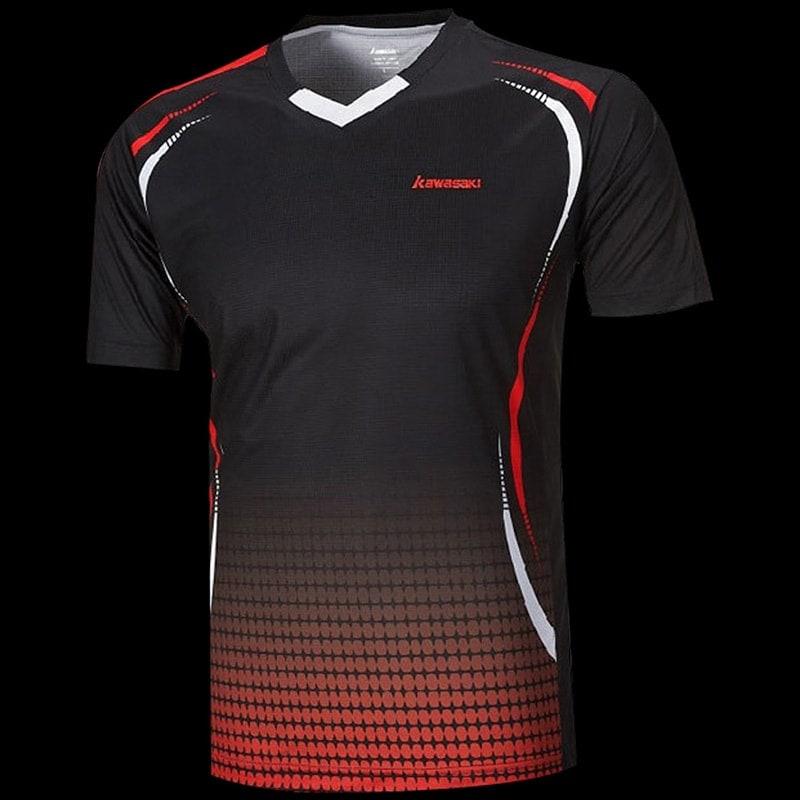 tee shirt kawasaki st 171005 v neck men noir rouge badminton. Black Bedroom Furniture Sets. Home Design Ideas