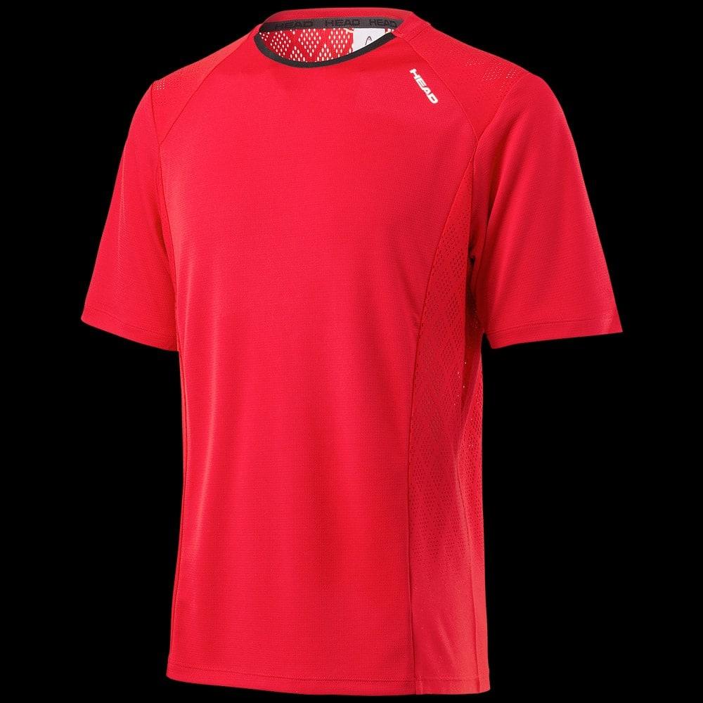 tee shirt head performance crew neck men rouge badminton. Black Bedroom Furniture Sets. Home Design Ideas